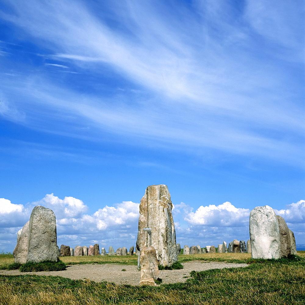Ale's Stones (Ales stenar), megalithic monuments , Kaseberga, Skane, Sweden