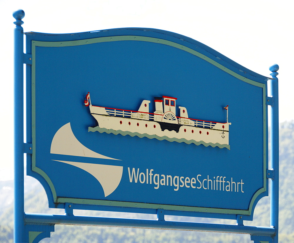 Wolfgangsee lake pleasure cruise sign, Wolfgangsee lake, Salzburg, Austria, Europe