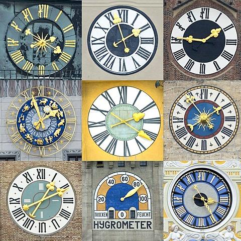 Different clocks from Munich Bavaria Germany - from top left to bottom right: 1.Apothekerhof Residenz 2.Heilig Geist Kirche 3.Frauenkirche 4.Altes Rathaus 5.Kirche St.Cajetan 6.Neues Rathaus 7.Kreuzkirche 8.Deutsches Museum 9.Muellersches Volksbad
