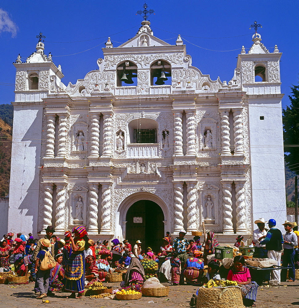 Market and baroque church in Zunil, Guatemala