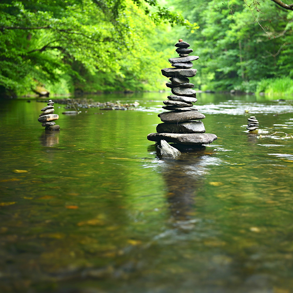 Stone pyramids, cairn in the river Schwarza, Schwarzatal, Thuringia, Germany, Europe