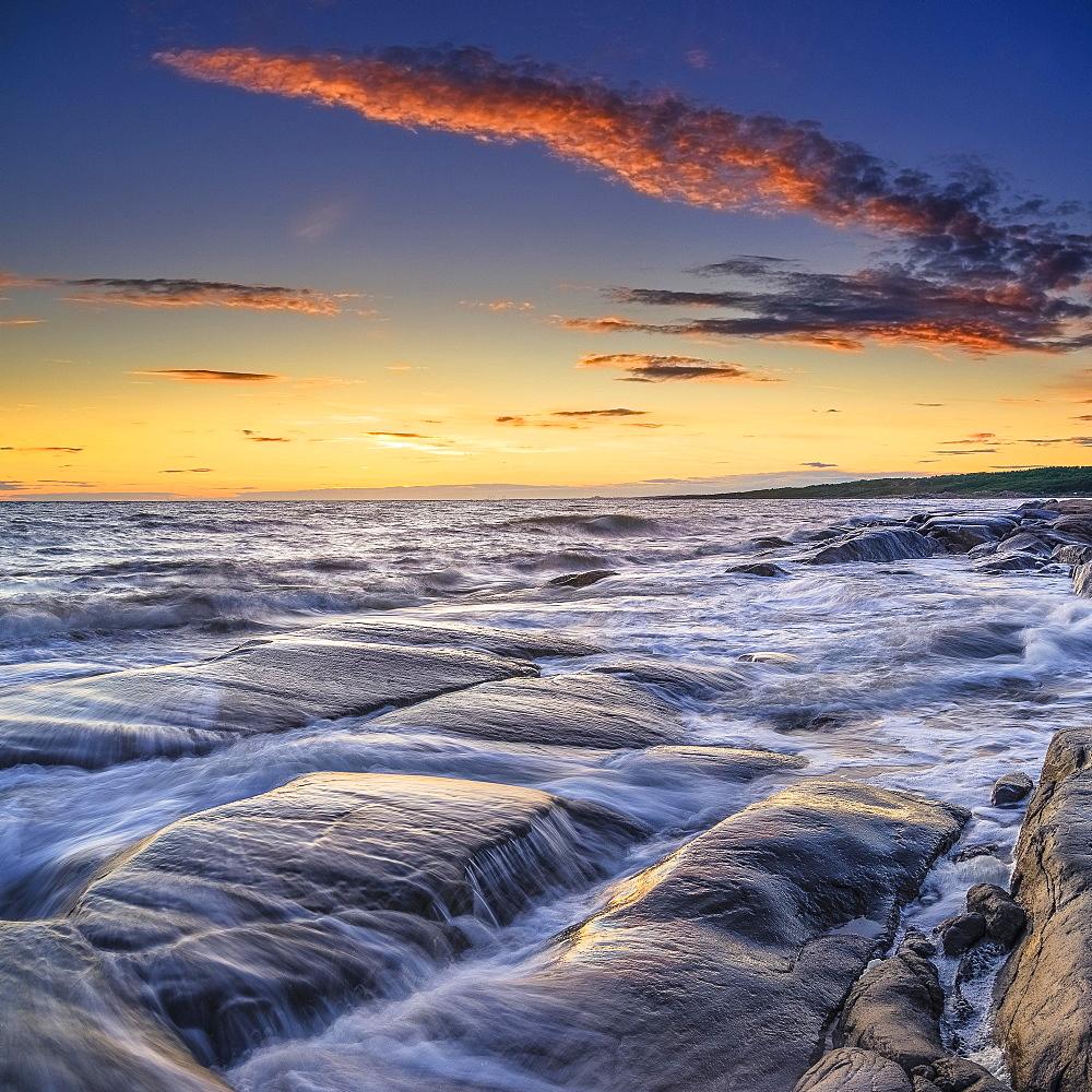 Rocks on the coast, Enet Nature Reserve, Steninge, Halmstad, Smaland, Sweden, Europe
