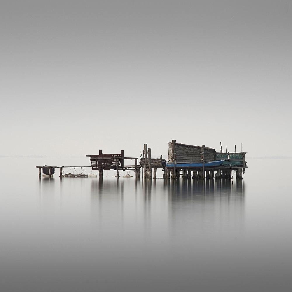 Fishing hut in the lagoon of Venice, Lido, Italy, Europe