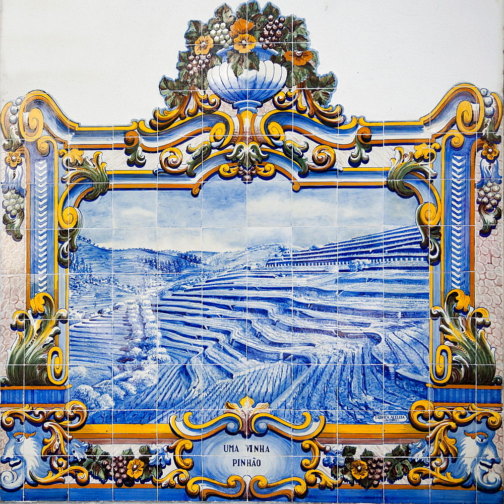 Azulejos on the wall of Pinhao Railway station, Tras-Os-Montes, Portugal, Europe