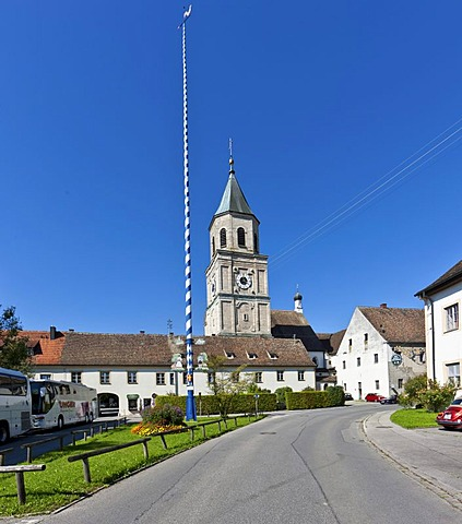 Polling with the parish church of St. Salvator and the Holy Cross, Heilig Kreuz, former Augustinian Canons Church, Polling, Upper Bavaria, Bavaria, Germany, Europe, PublicGround