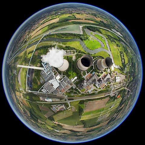 Aerial view, shot with a fisheye lens, Hamm coal power station, Gersteinwerk RWE-POWER Hamm power station, Werne-Stockum district, Hamm, Ruhr area, North Rhine-Westphalia, Germany, Europe