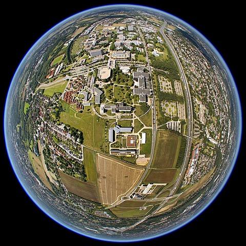 Aerial view, fisheye shot, university, college, Dortmund, Ruhr Area, North Rhine-Westphalia, Germany, Europe