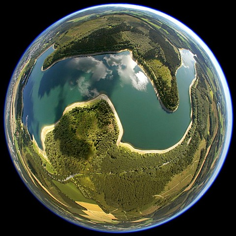 Aerial view, shot with a fisheye lens, Hennesee reservoir, Meschede, Ruhr area, North Rhine-Westphalia, Germany, Europe