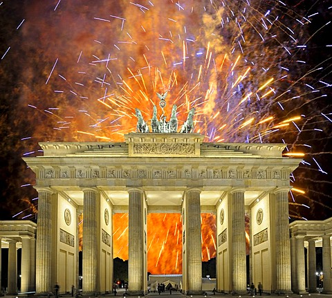 Fireworks behind Brandenburg Gate, Berlin, Germany, Europe, composing, PublicGround
