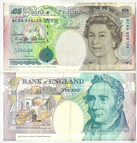 Old banknote, front and rear, 5 British Pound, Bank of England, circa 1990