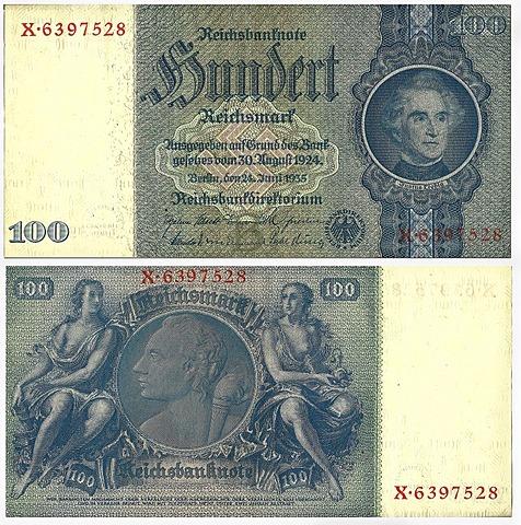 Old banknote, front and rear, Reichsbanknote, 100 reichsmark, Reichsbankdirektorium, circa 1935