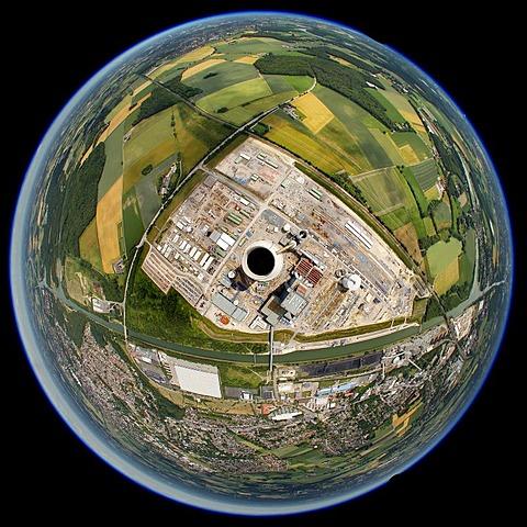 Aerial view, fisheye shot, EON Datteln 4 Power Station, Dortmund-Ems Canal, Datteln, Ruhr Area, North Rhine-Westphalia, Germany, Europe