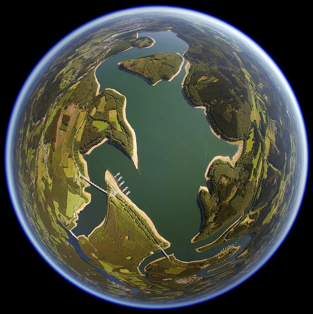 Aerial view, fisheye, Biggetalsperre reservoir, Attendorn, Hochsauerland, Sauerland, North Rhine-Westphalia, Germany, Europe