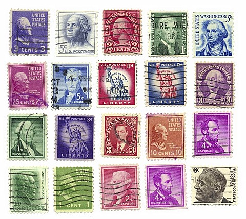 Stamped stamps from the U.S. with presidents and the Statue of Liberty