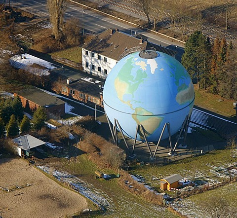 Aerial view, gas ball, gas tanks, globe, Oberwengern, Wetter, Ruhrgebiet region, North Rhine-Westphalia, Germany, Europe