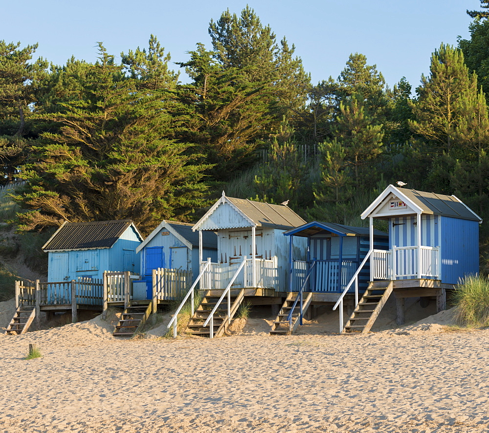A view of beach huts at Wells next the Sea, Norfolk, England, United Kingdom, Europe