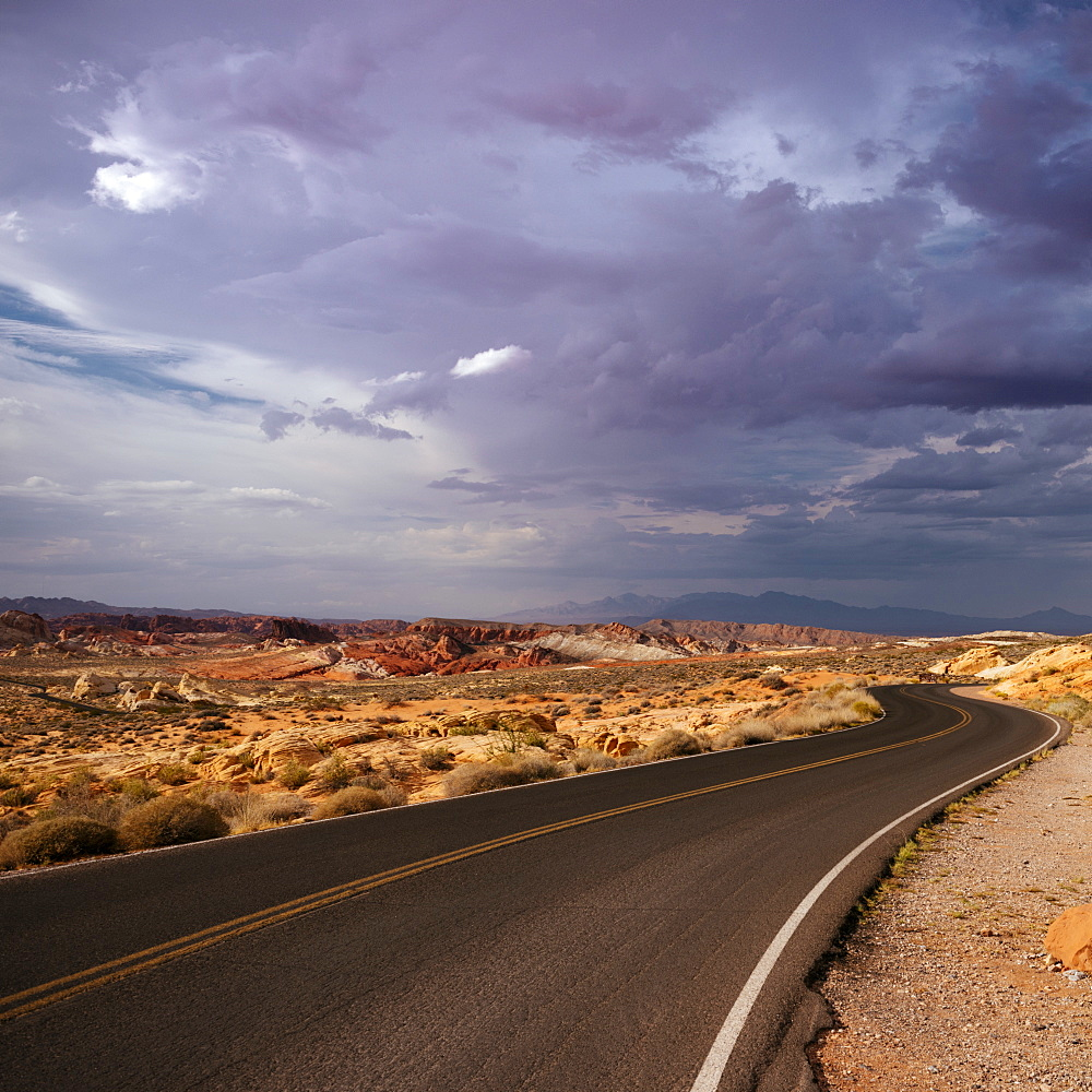 View of highway through Valley of Fire State Park, Nevada, United States of America, North America