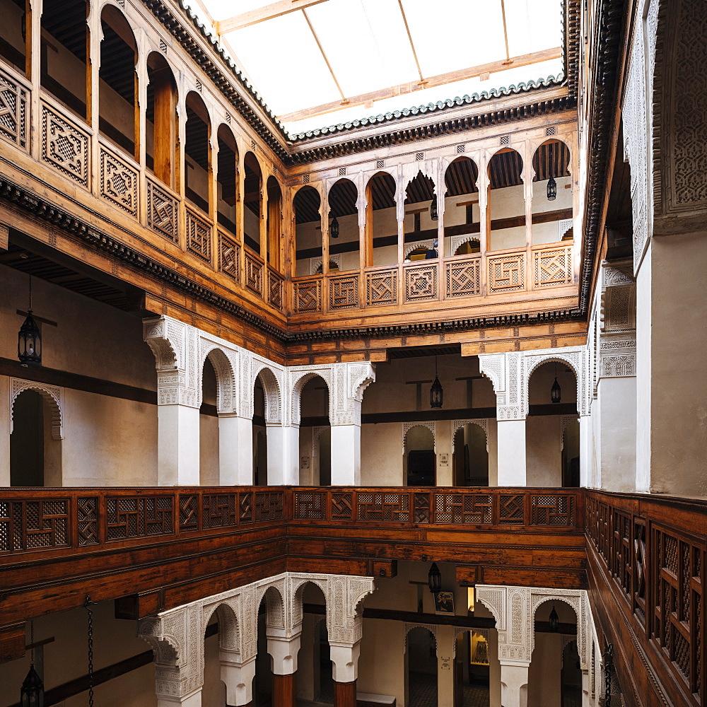 Interior of Nejjarine Fondouk, Medina, Fes el Bali, Fes, Morocco, North Africa