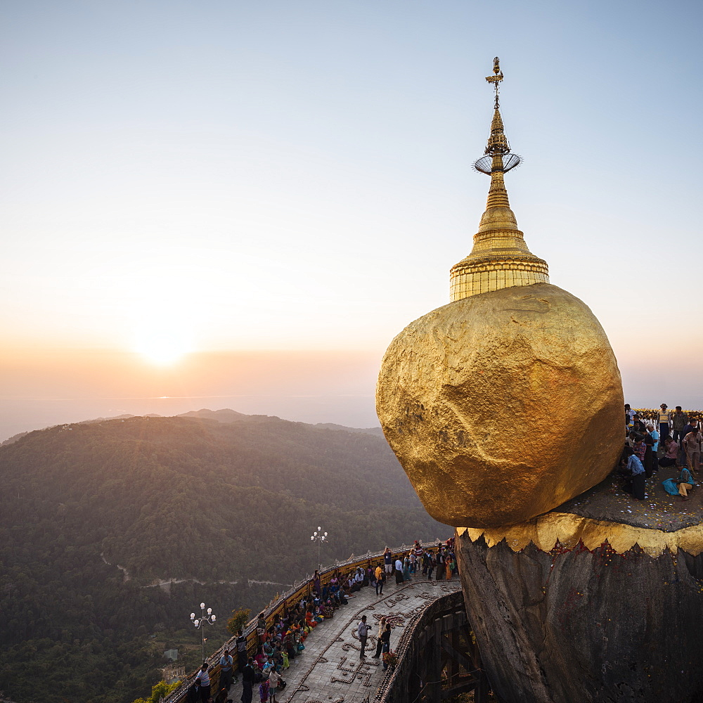 Mount Kyaiktiyo (Golden Rock) at sunset, Mon State, Myanmar (Burma), Asia