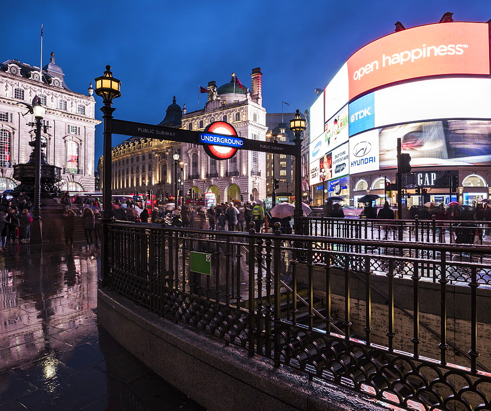 Piccadily Circus at night, London, England, United Kingdom, Europe