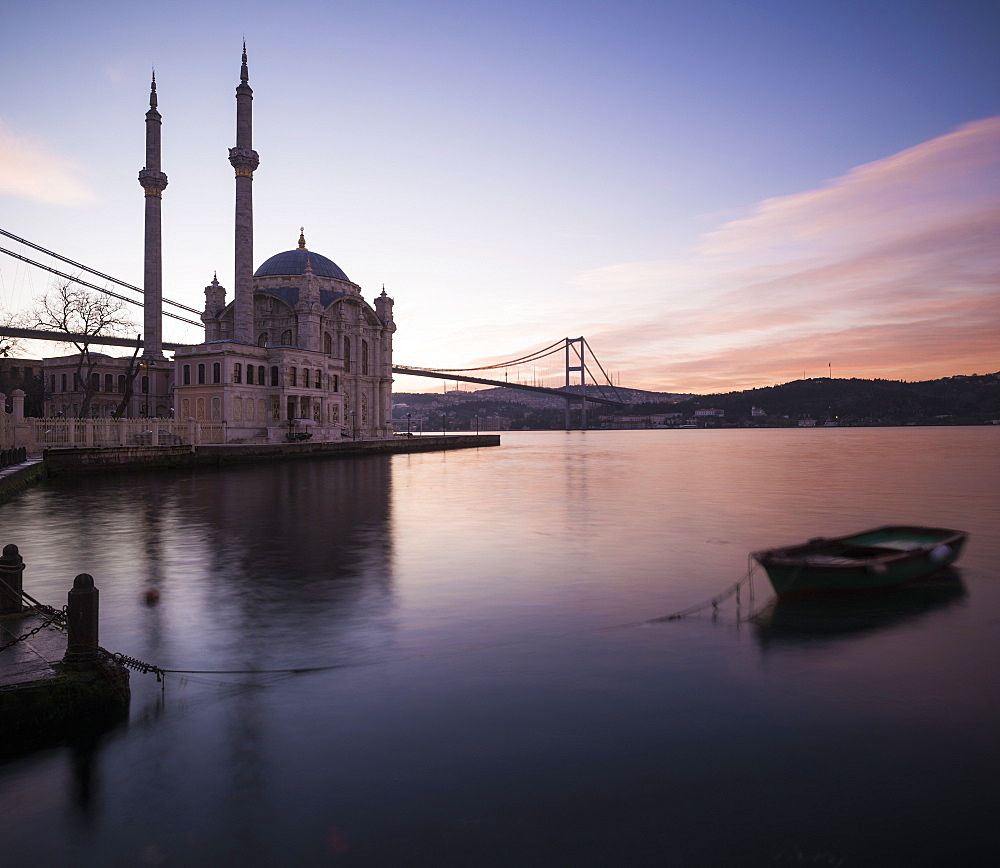 Exterior of Ortakoy Mosque and Bosphorus bridge at dawn, Ortakoy, Istanbul, Turkey, Europe