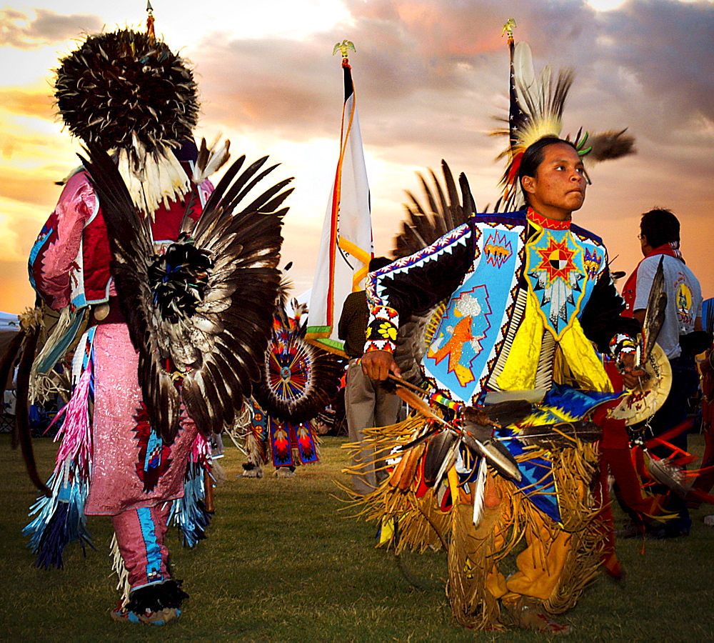 Native Americans perform a dance at a powwow in Mesa Verde, Colorado.