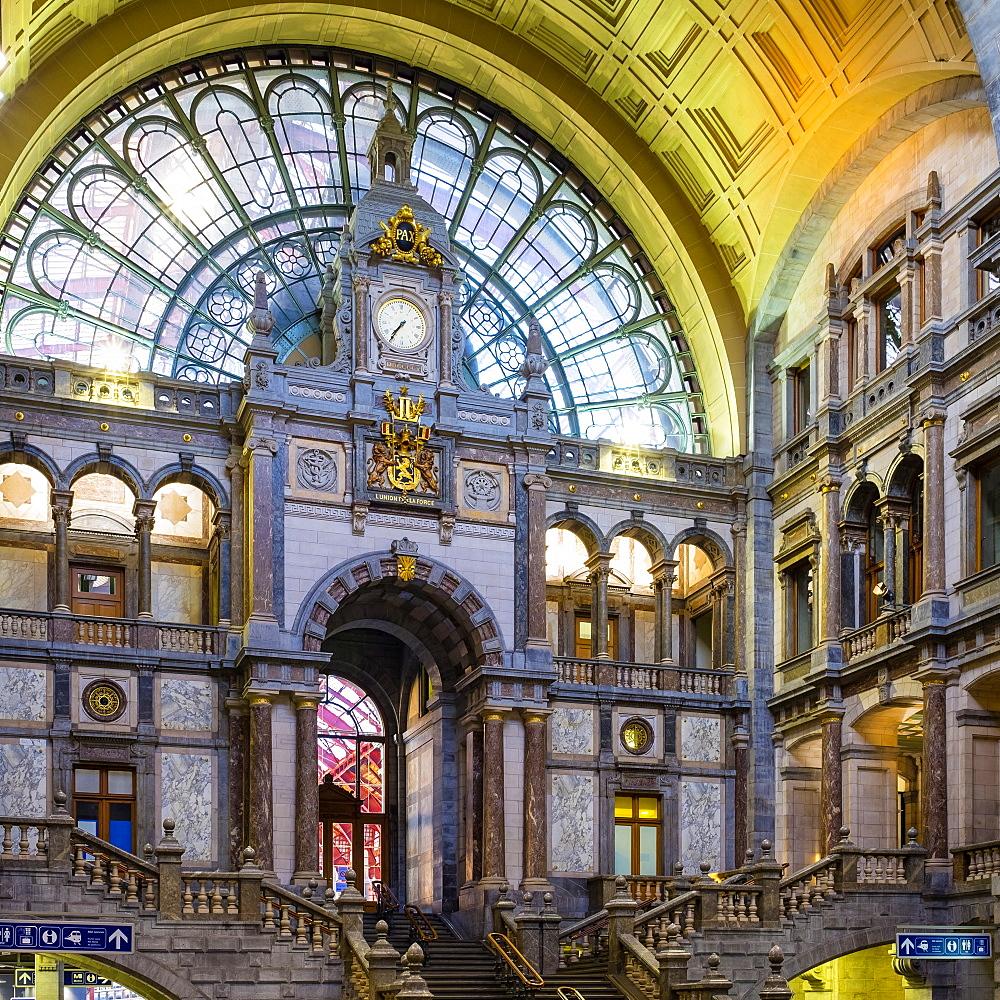 View Of Clock In Antwerp Central Station In Antwerp, Belgium