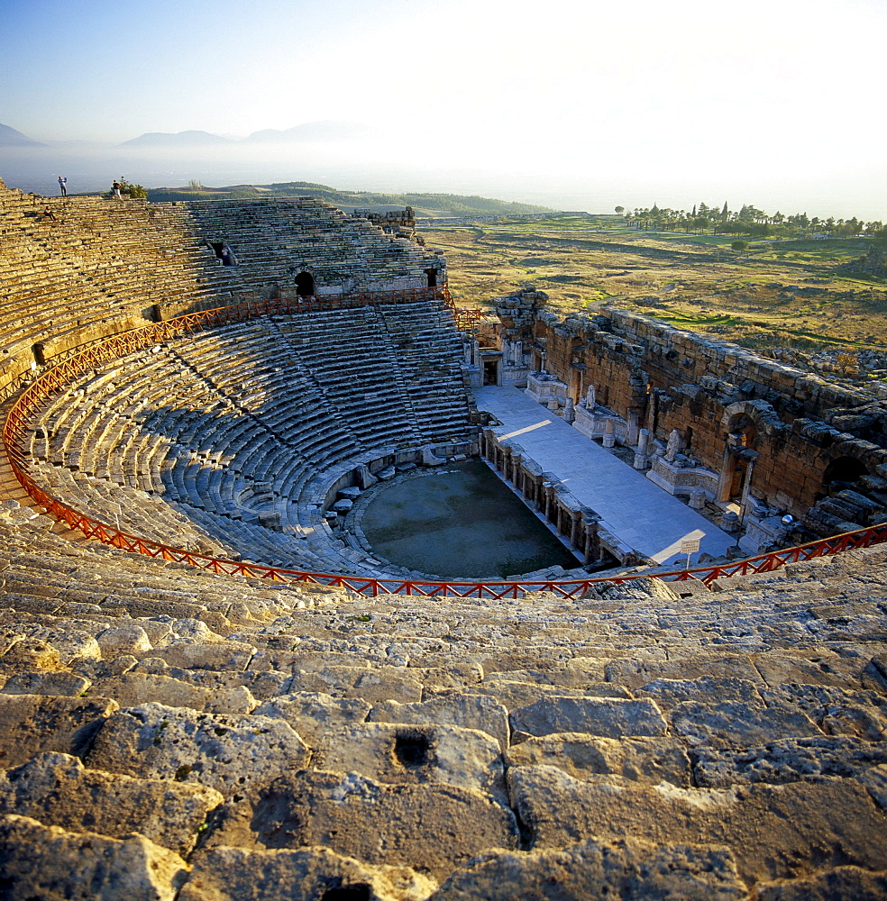 ancient theatre ruins in Pamukkale former Roman city of Hierapolis Anatolien Turkei