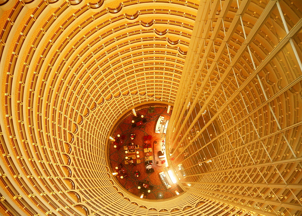 skyscraper Jin Mao Tower 420 m high with inner view to lobby from above modern architecture night view