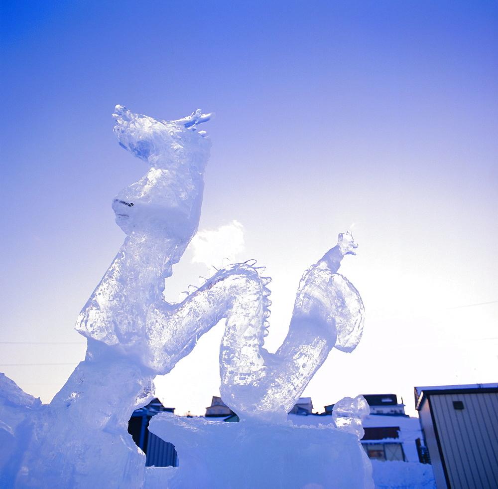 Ice carving, Mombetsu Ice Festival, Hokkaido, Japan