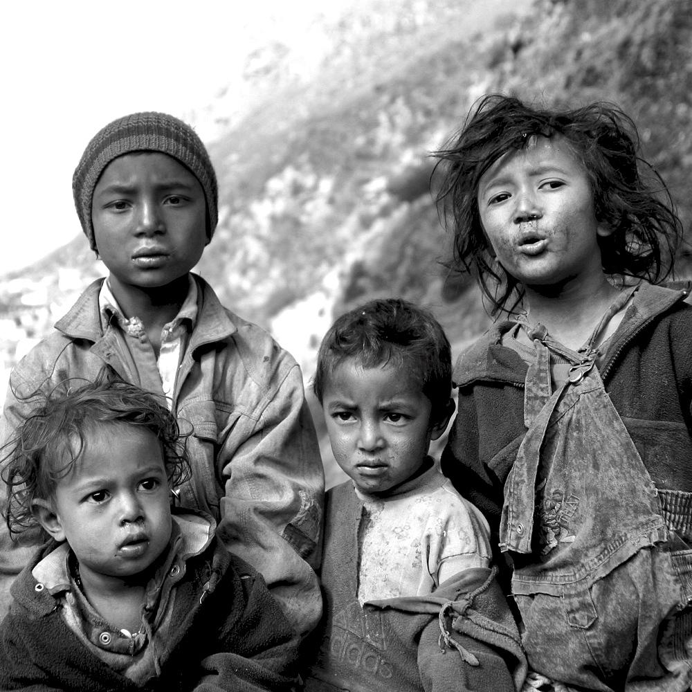 Children of the kumbu. Group of 4 Children, Black & White, Everest Region, Nepal. - 986-54