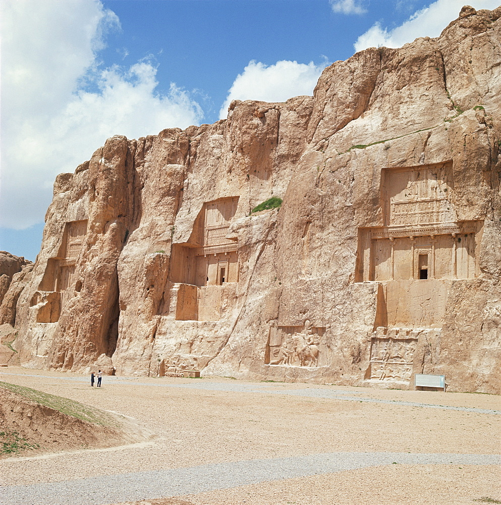 From left to right the tombs of Artaxerxes I, Xerxes and Darius the Great, Naqsh-e Rustam, Iran, Middle East
