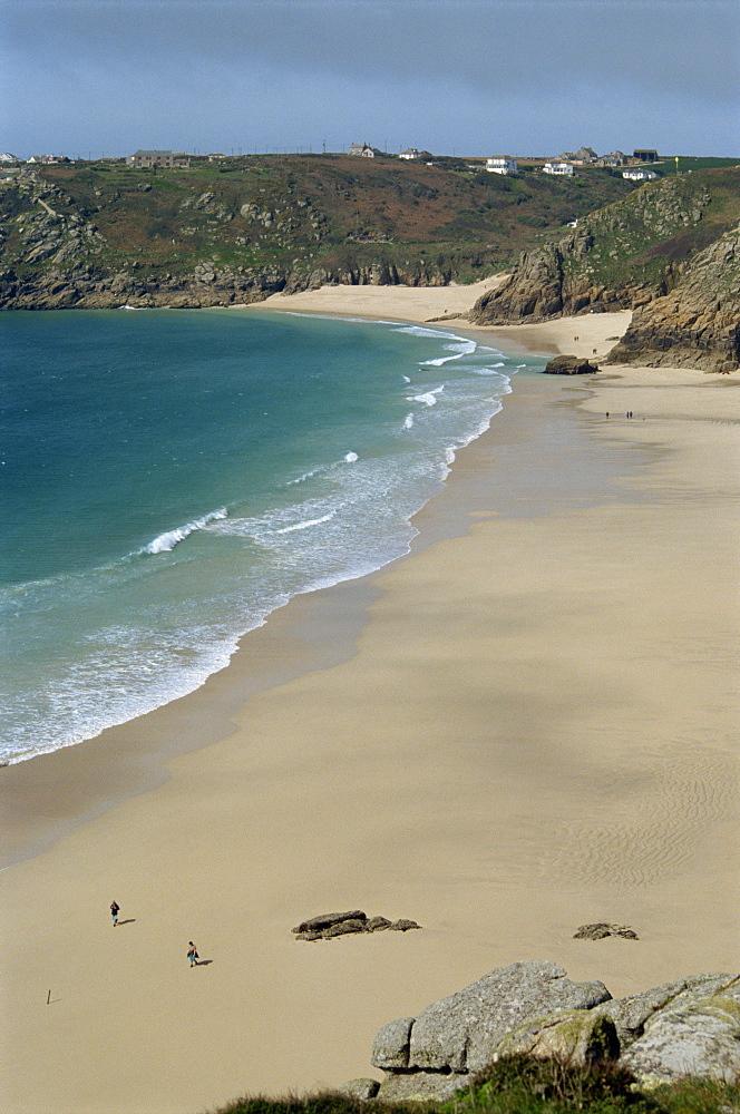 Porthcurno Beach from Logan Rock, Cornwall, England, United Kingdom, Europe