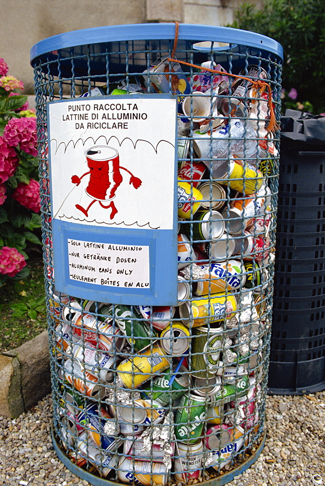 Aluminium cans for recycling, Italy, Europe