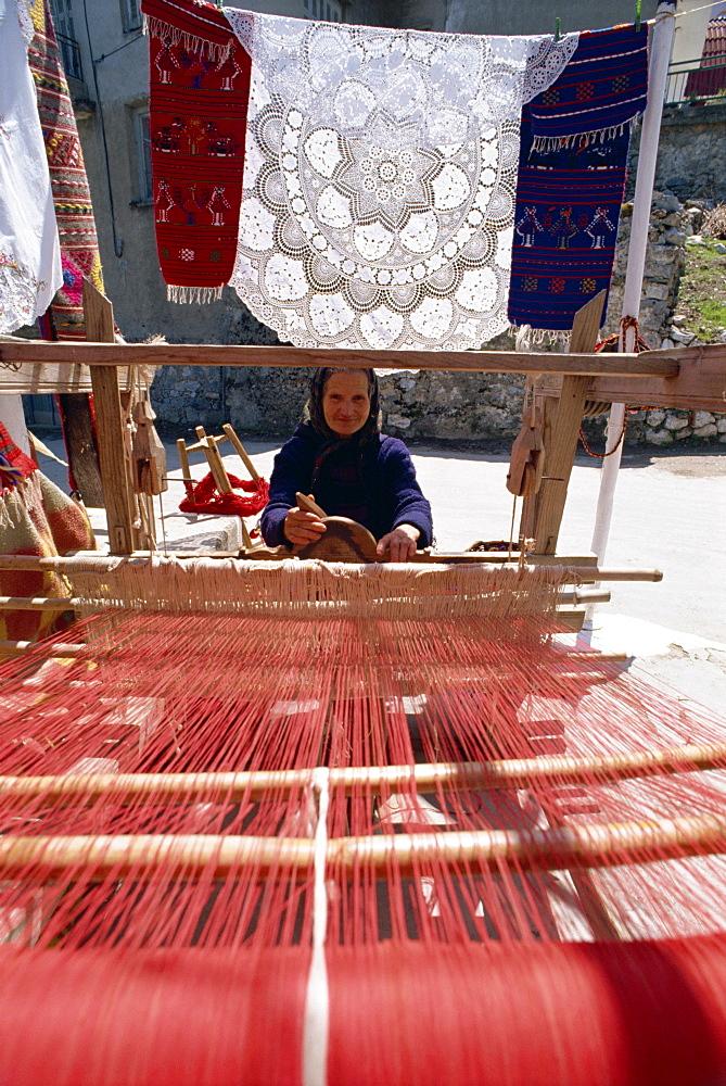 Woman weaver in village near Lasithi Plateau, Crete, Greek Islands, Greece, Europe
