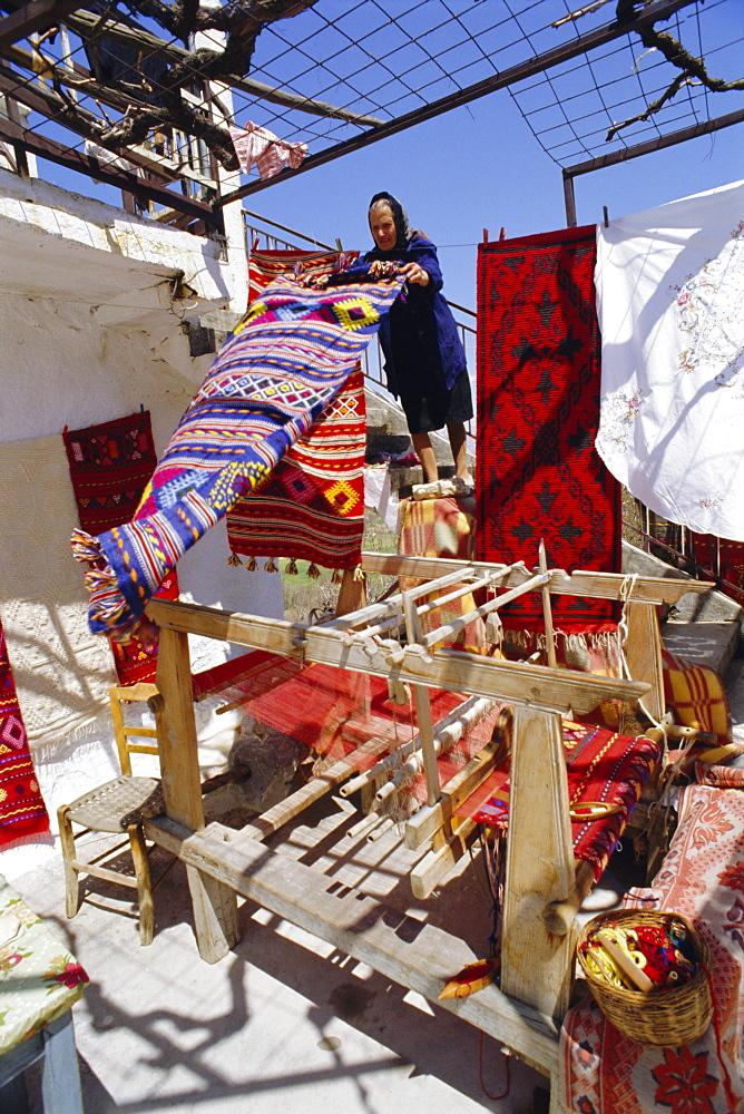 Village weaver near Lasithi Plateau, Crete, Greece, Europe