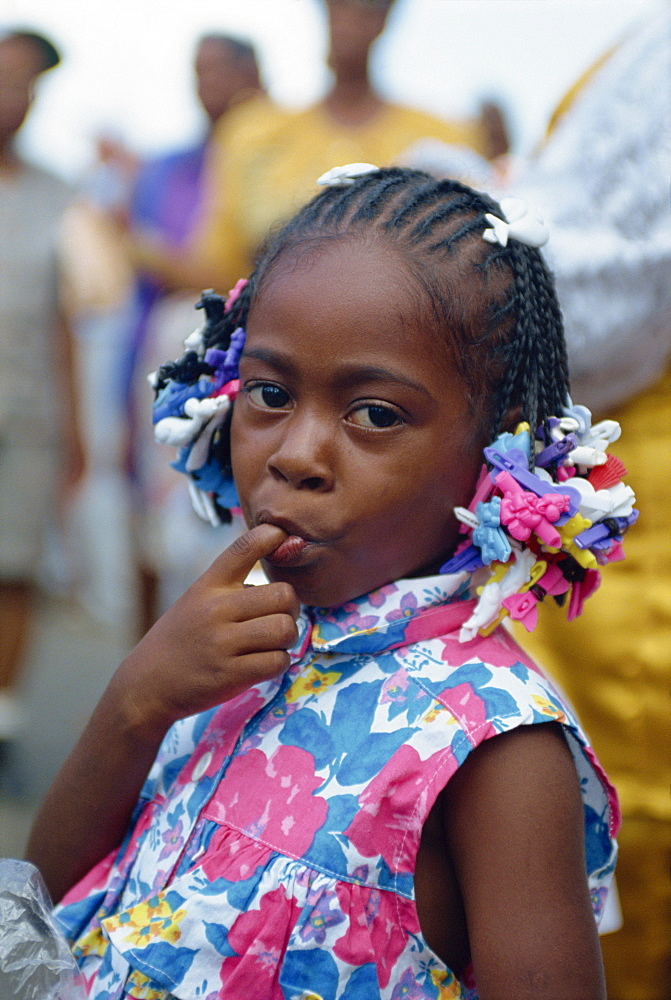 Little girl at Steel Band Festival, Point Fortin, Trinidad, West Indies, Caribbean, Central America