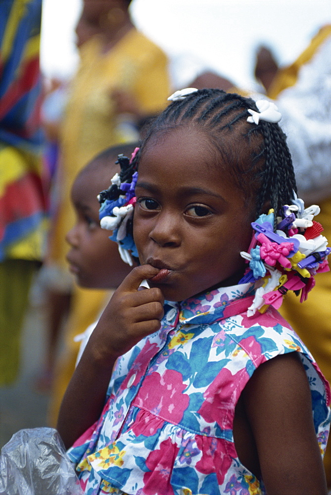 Portrait of a young girl at the steel band festival, Trinidad, West Indies, Caribbean, Central America