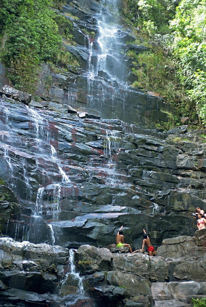 Water cascading down rocks at Kavak, an Indian village near Angel Falls in Venezuela, South America