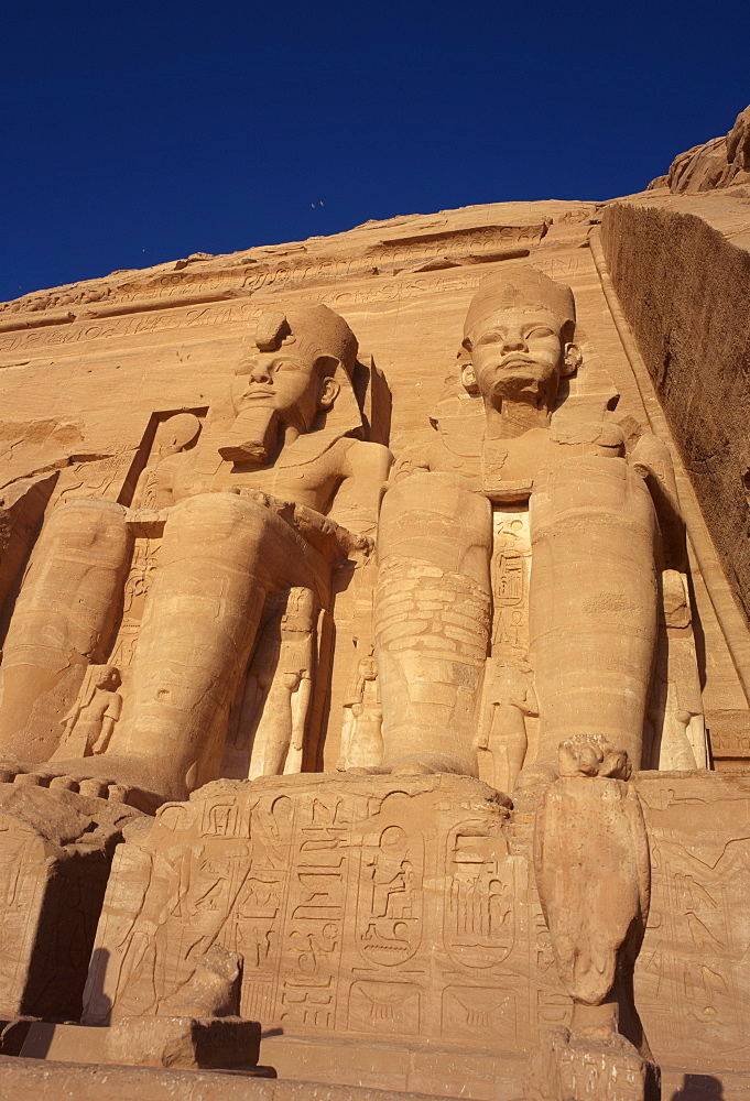 Temple of Re-Herakhte for pharaoh Ramses II, moved when Aswan High Dam built, UNESCO World Heritage Site, Abu Simbel, Nubia, Egypt, North Africa, Africa