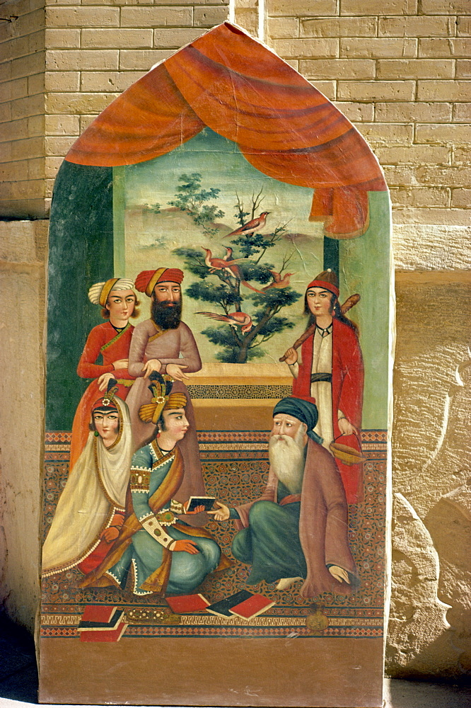 Qajar painting, Shiraz Museum, Shiraz, Iran, Middle East - 1-8080