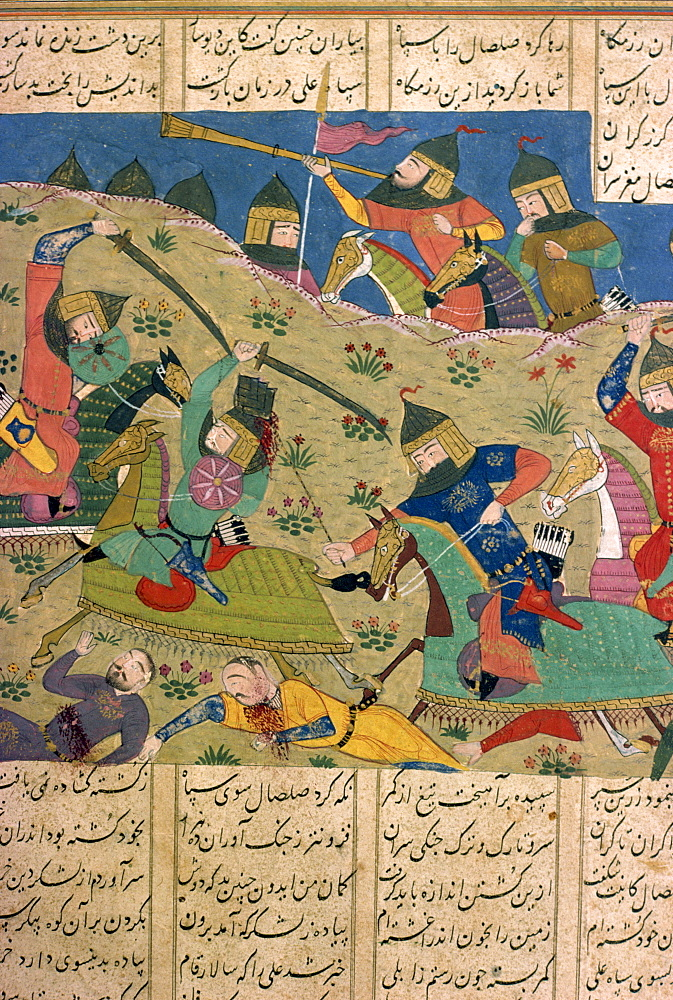 Manuscript showing battle, Khawian-Homo Decorative Arts Museum, Teheran, Iran, Middle East