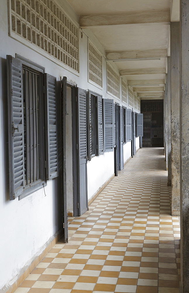 Rooms where prisoners of the Khmer Rouge were held and tortured, Tuol Sleng Genocide Museum, Cambodia, Indochina, Southeast Asia, Asia