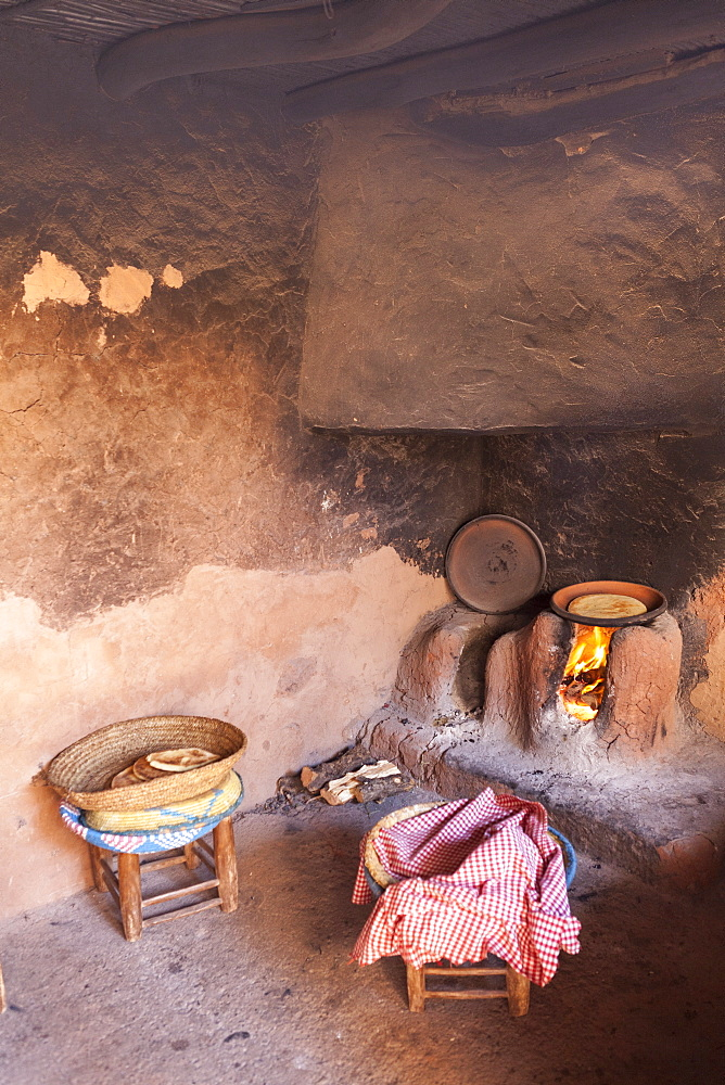 The kitchen of a traditional Berber home in the Ourika Valley, Morocco, North Africa, Africa