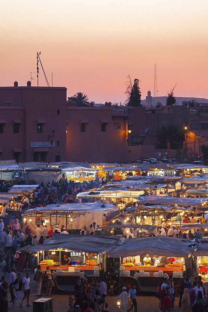 Food stalls in the Jemaa El Fna at sunset, Marrakesh, Morocco, North Africa, Africa