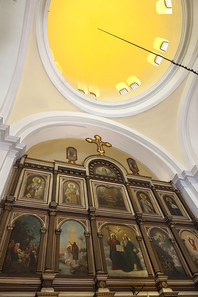 Interior of St. Nicholas Church, Cathedral Square, Kotor Old Town, UNESCO World Heritage Site, Montenegro, Europe
