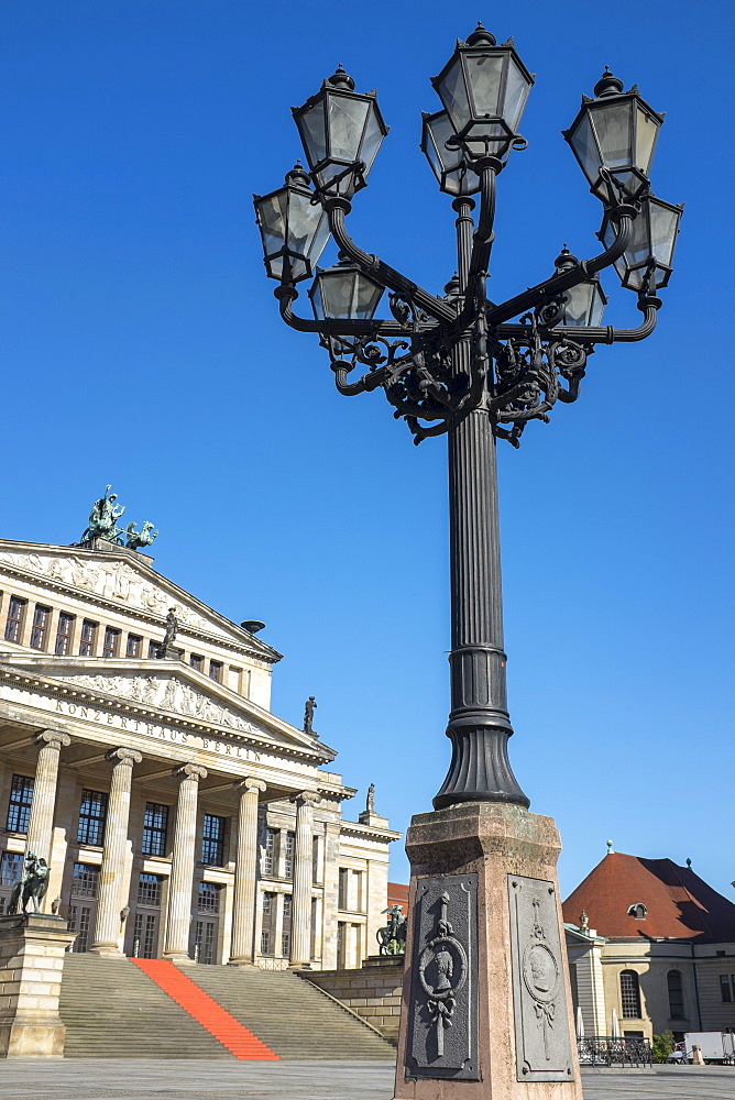Berlin Concert House (Konzerthaus Berlin) with ornate traditional lamppost in the foreground, Berlin, Germany, Europe - 10-388