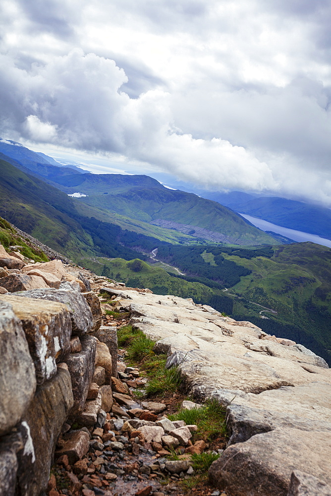 A view from the Mountain Track (Tourist Route), Ben Nevis, Highlands, Scotland, United Kingdom, Europe - 10-394