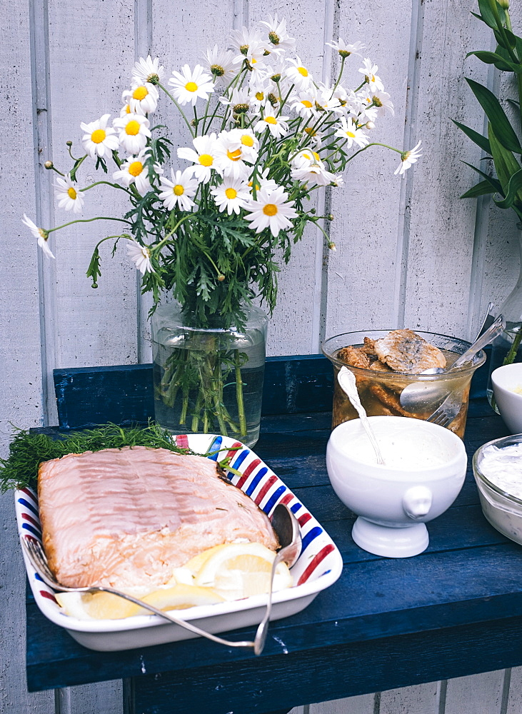 Tradtional Swedish foods, including salmon fillet with lemon and herring, Sweden, Scandinavia, Europe - 10-401