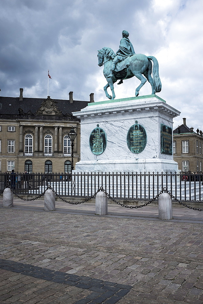 King Frederick V on horseback statue in the grounds of the Royal Castle (Amalienborg), Copenhagen, Denmark, Scandinavia, Europe - 10-402